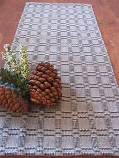 Table Runner Handwoven Cotton Green & White by aclhandweaver, $125.00