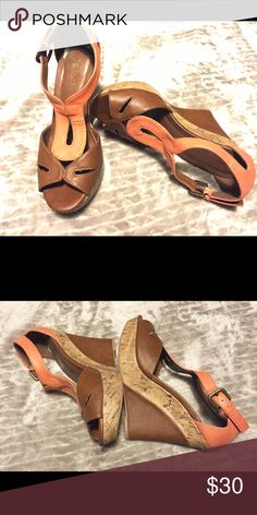 Summer Wedges shoes Coral & coffee colored pumps perfect for summer and fall. Pair perfectly with almost anything. Coach for exposure Coach Shoes Wedges