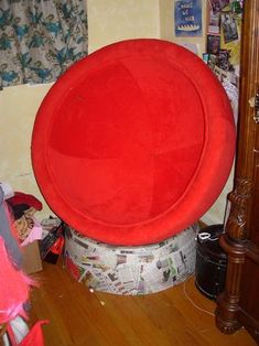With a special jig, a good bit of time and a LOT of cardboard you can make the very comfortable, very groovy ball chair. Since the bulk of the material is scrap. Cardboard Furniture, Diy Cardboard, Diy Pallet Furniture, Ball Chair, Diy Chair, Recycling, Scrap, Room Decor, Projects