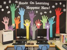 Computer Lab bulletin board for Summer 2013. Got the hand idea from clipart, then made many changes to make it my own. The scattered icons are grayscale, only colorful ones are when the hands touch them.