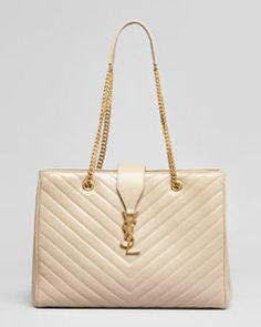 Saint Laurent Cassandre Chain-Strap Matelasse Shopper Bag, Beige