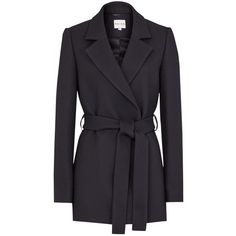 Reiss Grazia Belted Coat, Night Navy ($375) ❤ liked on Polyvore featuring outerwear, coats, belt coat, wrap coat with belt, tie belt, reiss coat and coat with belt