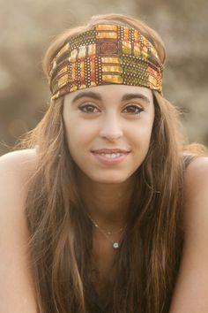 Aiza Headband Headwrap Handmade in Tanzania Tribal by MajiLove, $16.99 Hippie Headband Boho Bohemian Orange Yellow Pattern
