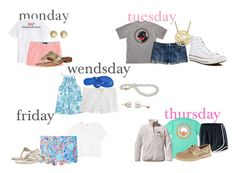 """""""first week of school outfits"""" by elizabeth-preppy ❤ liked on Polyvore featuring Vineyard Vines, J.Crew, Jack Rogers, Tiffany & Co., Southern Proper, Converse, Lilly Pulitzer, Tory Burch, Patagonia and NIKE"""