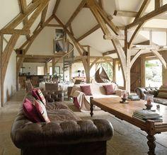 Buckinghamshire Barn - Border Oak - oak framed houses, oak framed garages and structures. Floor Design, House Design, Timber Frame Homes, Timber Frames, Border Oak, Oak Framed Buildings, Oak Frame House, Self Build Houses, Medieval Houses