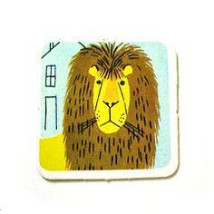 Vintage memory game lion card