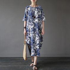 Chinese style Flower Print Plus size Women Dress Loose Casual Oversized Summer Dress Robe Femme Linen Cotton Long Dresses A002