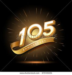 105 years golden anniversary logo celebration with firework and ribbon