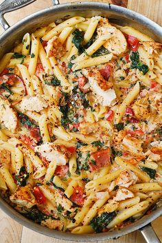 Chicken & Bacon with Spinach and Tomatoes in Garlic Cream Sauce ... double the chicken for a higher protein content and use brown rice pasta.