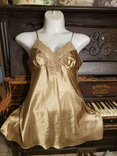 0256bdade Victoria s Secret Sz L Slip VINTAGE satin Babydoll Nightgown gold Nighty  shiny