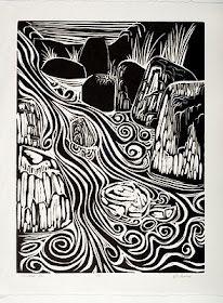 Ed Cross, Cascade. 1960 linoleum block print.---i love the movement in this