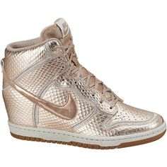 Nike Dunk Sky Hi Cut Out Premium Women's Shoe ($130) ❤ liked on Polyvore featuring shoes, athletic shoes, leather athletic shoes, nike, genuine leather shoes, cut out wedge shoes and cutout shoes