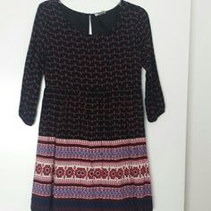 Forever21 Dress 3/4 sleeve dress from Forever21. Cute designs all over the dress. Pairs great with booties or riding boots. Only worn once. 10% off when you bundle 2 or more items! Forever 21 Dresses