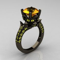 Classic French 14K Black Gold 3.0 Carat Citrine Yellow Topaz Solitaire... ($2,149) ❤ liked on Polyvore featuring jewelry, rings, 14 karat gold ring, vintage anniversary rings, round wedding rings, vintage citrine ring and yellow gold wedding rings