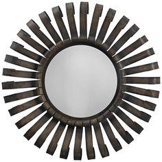 "Jamie Young Scroll Gunmetal 26"" Round Sunburst Wall Mirror - #19T93 | Lamps Plus"