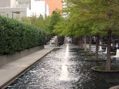Fountain Place in Dallas, Texas designed by Dan Kiley with Peter Ker Walker and WET Design. Learn more at http://tclf.org/landscapes/fountain-place