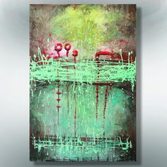 ORIGINAL  ABSTRACT  PAINTING on canvas  Green by ColorMind on Etsy, $98.00