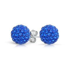 Bling Jewelry Sapphire Color Crystal 925 Silver Shamballa Inspired Stud Earrings 8mm for only $7.99 You save: $10.00 (56%) + Free Shipping