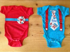Thing 1 & Thing 2 Twin Boy and Girl Baby Bodysuit Set on Etsy, $30.00