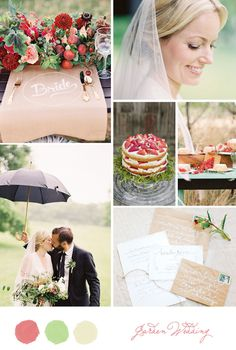 Inspiration Board: Garden wedding with pops of red