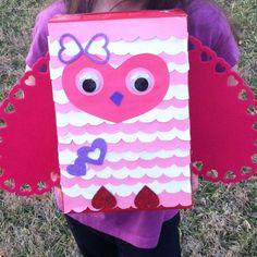 Valentines day card box owl