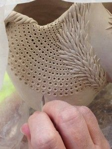 this is fired clay but I bet the pattern ideas could be used with air dry clay