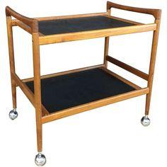 Dyrlund Mid-Century Modern Danish Teak Bar Cart on Chairish.com