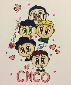 CNCO KAWAII Cnco Logo, Cnco Richard, Baby Looney Tunes, Love Ya, Cartoon Drawings, Drawing Tips, Youtubers, Chibi, Mickey Mouse