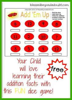 FREE Addition Dice Game!  Your child will love practicing their addition facts while rolling the dice.