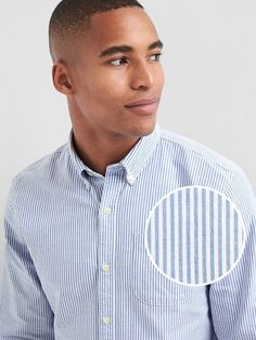 GAP Oxford bengal stripe slim fit shirt The classic, one-and-done.  Smooth oxford weave. Long sleeves with button cuffs. Collar. Button front. Shirttail hem. #461842
