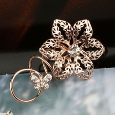 Fashion Alloy Hollow Flower And Butterfly Shape Loopy Rings