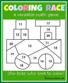 Math game for kids: Coloring Race combines math and coloring - the measured mom