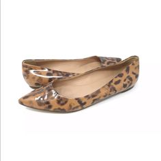 ed527bb38d J. Crew Shoes | J Crew Patent Leather Cheetah Print Pointed Flat | Color: