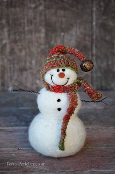 Needle Felted Wool Snowman, handmade and one of a kind.  by Teresa Perleberg