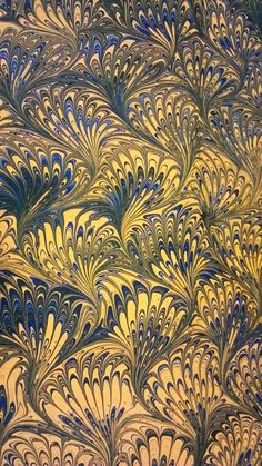 painting on water: the art of paper marbling. Peacock marblign