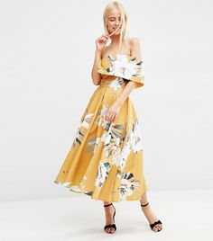 ASOS Premium Off the Shoulder Bardot Midi Prom Dress