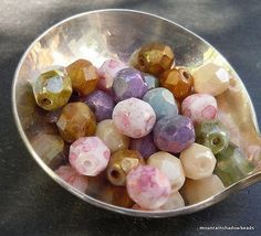 Czech Glass Bead Opaque Luster Mix 6mm Firepolish Faceted Round Bead - 25 pc Str