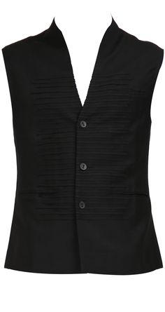 Black Waistcoat in Cotton Twill | Rohit Gandhi & Rahul Khanna Collection