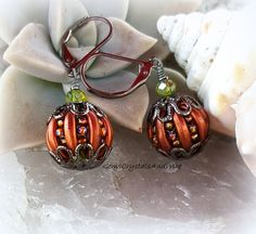 Elegant Pumpkin Earrings, Beaded Pumpkins, Unique Earrings, Fall Jewelry, Autumn Pumpkins, Halloween Earrings - pinned by pin4etsy.com