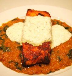 Tandoori Salmon, Red Lentil Dahl & Raita