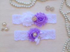 wedding garter set white/lavender bridal garter set by venusshop, $19.90