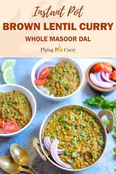 Instant Pot Brown Lentils (Masoor Dal) Enjoy this delicious & healthy Whole Masoor Dal, also known as Brown Lentils Curry, made in the Instant Pot or Stovetop Pressure Cooker. Indian Veg Recipes, Lentil Recipes, Curry Recipes, Vegetarian Recipes, Cooking Recipes, Healthy Recipes, Kerala Recipes, Instant Pot Curry Recipe, Lentils Instant Pot