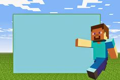Minecraft:  Free Printable Invitations. birthday or party Steve