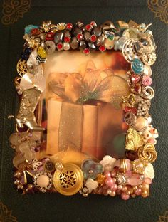 Picture frame jeweled with vintage jewelry ♥ by Chancevintageandsuch, $25.00