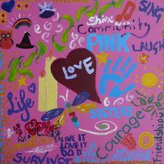 PinkOctober 2011 Fundraiser - DoodleJam Fundraiser - vibrant group paintings using doodles #DoodleJam