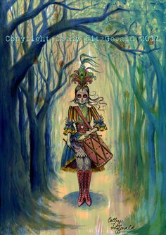 A4 - Dia de los Muertos Day of the Dead  Victorian Circus Drummer Girl in Forest Cardstock Print. $12,00, via Etsy.