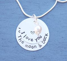 I Love You to the Moon and Back Necklace, Christmas Gift for Her, Anniversary Gift for Her, Gift for Girlfriend, Stacked Necklace, Sterling