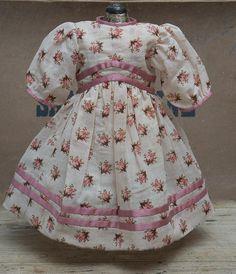 "Antique French Original Silk & Cotton Dress for Jumeau Bru Steiner Bebe or German Doll about 22"""
