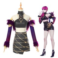 Drop Shipping Halloween Costume LOL League of Legends KDA Evelynn Outfit Sexy Leather Top Skirt Cosplay Costume With Wig Cosplay League Of Legends, League Of Legends Characters, Lol League Of Legends, Cosplay Outfits, Cosplay Wigs, Cosplay Costumes, Cosplay Dress, Halloween Cosplay, Halloween Costumes