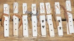 "How to make Snowmen ""clothespin"" Magnets in Primitive theme"